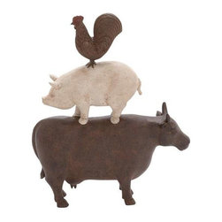 BZBZ44717 - Traditional American Farm Art Trio of Poly Stone Cow, Pig and Rooster - Traditional American farm art trio of poly stone cow, pig and rooster. Traditional American farm art trio of poly stone cow, pig and rooster. Some assembly may be required.