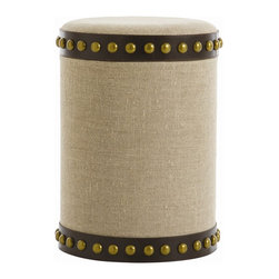 Arteriors - Dalia Stool - Living room stools are always handy as impromptu extra seats or side tables, but this one is handier than most. Remove the padded top and you'll find a convenient storage space for throw pillows, magazines, movies and more. Covered in linen and decorated with heavy brown leather and brass nailheads, this stool has a substantial feel.