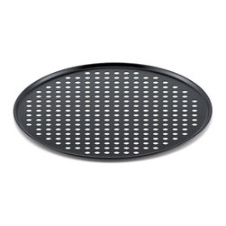 """Frontgate - Breville 13"""" Pizza Crisper - Made of non-stick-coated mild steel. 1/3"""" crisper holes guarantee supreme golden brown results. Can be used with a variety of foods, including flatbreads and frozen snacks. Can also be used with a traditional full-size oven. Hand wash with warm, soapy water. Designed especially for Breville's Smart Oven, the Breville 13"""" Pizza Crisper bakes a crispier, more evenly browned pizza crust. This Breville crisper has drilled holes that allow even heat distribution and faster cooking times, along with a non-stick surface to minimize sticking and for easy clean up. Ideal for transferring pizza into and out of hot ovens safely, this pizza crisper fits easily into most ovens and is perfect for a 12"""" pizza.  .  .  .  .  ."""