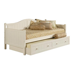 Hillsdale Furniture - Staci Daybed w Trundle Drawer in White - Set includes Daybed and Trundle. This daybed is composed of solid wood and climate controlled wood composites. Minor assembly required. Back: 81.5 in. L x 37 in. H. Arms: 41 in. D x 34 in. H. Trundle: 77.13 in. L x 40.5 in. W x 13 in. HFeaturing a traditional cottage beadboard design and a classic arched silhouette.