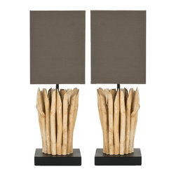 Safavieh - Safavieh Mini Natural Vertical Branch Table Lamp X-2TES-A2105TIL - Wood Color: NATURALColor: NATURALCare Instruction: Unplug lamps before using any cleaning solutions.  Dust shades with a feather duster or with an appropriate vacuum-brush attachment.  Clean lamp bases with the methods appropriate to the material.