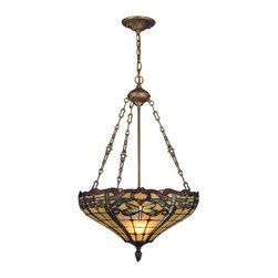 Dale Tiffany - Dale Tiffany TH12223 Cabrini 3 Light Pendants in Antique Brass - Tiffany's signature dragonfly in shimmering iridescent blue, green and yellow is the star of our Cabrini lighting series. The shade on this inverted pendant fixture features a background of warm amber art glass. 4 inverted dragonflies are nestled amidst a ribbon border in shades of dark blue, light blue and green. The border is enhanced with a fleur de lis pattern, accented with red art glass and multicolored art glass jewels. The shade hangs from a metal canopy, support tube and decorative chain, all finished, in rich antique brass. This inverted pendant is lovely over a formal dining area or a dramatic way to greet your guests when used in a foyer. Wherever you chose to display it, our Cabrini inverted pendent will easily be the magnificent centerpiece of any room in your home.