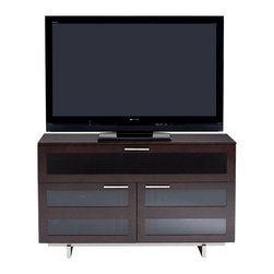 BDI - Avion II TV Stand, Tall Double Wide - The Avion II TV Stand features stainless steel base, IR friendly door and windows and soft close hinges, ensuring your TV and components are optimally hosted. Two doors allow for easy access and help keep your devices out of site. Integrated cable management helps eliminate clutter. The Avion II TV Stand is designed to accommodate up to 50 inch flat screen TVs.