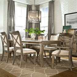 Legacy Classic Furniture - Legacy Brownstone Village 5 Piece Dining Table Set with Upholstered Chairs - LGC - Shop for Dining Sets from Hayneedle.com! Bring contemporary rustic style home with the Legacy Brownstone Village 5 Piece Dining Table Set with Upholstered Chairs a charming ensemble featuring hardwood solid construction and country-inspired X back chairs. Genuine oak veneers with an aged patina finish are charmingly complemented by a contemporary cream upholstery blend of rayon polyester and cotton creating a relaxed yet refined style for upscale dining rooms.About Legacy Classic FurnitureCommitted to offering the best of today's youth-bedroom styles for the young and young at heart Legacy Classic Furniture offers a wide selection of best selling designs and finishes with a large variety of beds and storage and study options. Dedicated to providing outstanding quality at reasonable prices Legacy Classic Furniture employs quality materials proven construction techniques and the highest safety standards to manufacture exceptional products that are built to last a lifetime.Note about drawer features:All Legacy products use Kenlin's Rite-Trak drawer guide system. Exceptionally quiet and smooth this system features positive stops and close tolerances for better drawer fit. Kenlin drawer guides are made with precision steel guides and runners permanent lubrication and specially engineered plastic components for years of reliable performance.