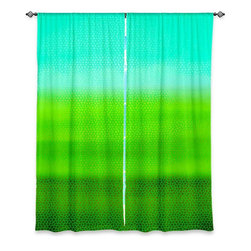 """DiaNoche Designs - Window Curtains Unlined by Iris Lehnhardt - Greenish - DiaNoche Designs works with artists from around the world to print their stunning works to many unique home decor items.  Purchasing window curtains just got easier and better! Create a designer look to any of your living spaces with our decorative and unique """"Unlined Window Curtains."""" Perfect for the living room, dining room or bedroom, these artistic curtains are an easy and inexpensive way to add color and style when decorating your home.  The art is printed to a polyester fabric that softly filters outside light and creates a privacy barrier.  Watch the art brighten in the sunlight!  Each package includes two easy-to-hang, 3 inch diameter pole-pocket curtain panels.  The width listed is the total measurement of the two panels.  Curtain rod sold separately. Easy care, machine wash cold, tumble dry low, iron low if needed.  Printed in the USA."""