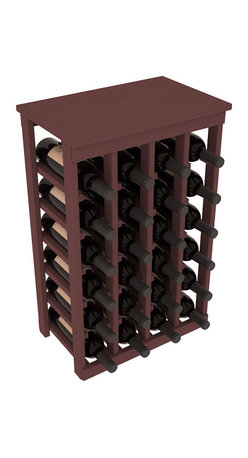 Wine Racks America - 24 Bottle Kitchen Wine Rack in Ponderosa Pine, Walnut Stain - Petite but strong, this small wine rack is the best choice for converting tiny areas into big wine storage. The solid wood top excels as a table for wine accessories, small plants, or whatever benefits the location. Store 2 cases of wine in a space smaller than most televisions!