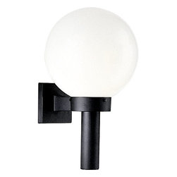 Progress Lighting - Progress Lighting P5636-60 White Acrylic Globes Series Single-Light Outdoor Wall - Add contemporary style and functionality with this outdoor wall torch from Progress Lighting. A white acrylic globe offers sleek and dazzling light while the backplate covers a standard outlet box for easy and clean installation that will last for years.Features:
