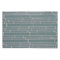 Rocky Point Tile - 10 Square Feet - Seaside Aqua Blue/Green Random Strip Glass Mosaic Tiles - Escape to the ocean without leaving your bathroom. The gorgeous blue gray of this beautiful strip glass mosaic tile will leave you feeling relaxed and rejuvenated. Get a fresh beach resort feel by adding fluffy white towels and a seashell soap dish, or create a more tranquil earthy oasis with rich brown furnishings.