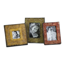 Terracotta Photo Frames - Set of 3 - This set of three Terracotta photo frames feature intricate floral details and warm fall inspired colors.