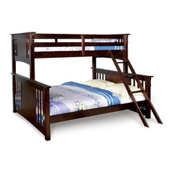Adarn Inc. - Twin Over Queen XL Long Combo Size Bunk Bed Dark Walnut Sturdy Hard Wood Mission - Constructed of solid wood with veneers, this twin over queen bunk bed is finished in dark walnut. It features straight vertically slatted headboards and footboards with panel parts in the middle. Sturdy full length slatted guard rails will keep your child safe on the top bunk, while an attached ladder makes it easy to get up and down. The special queen size below bed add the function of this bunk bed. This bunk bed must will be an attractive part in your home. Assembly Required
