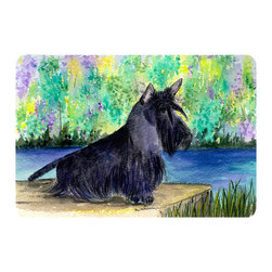 Caroline's Treasures - Scottish Terrier Kitchen or Bath Mat 20 x 30 - Kitchen or Bath Comfort Floor Mat This mat is 20 inch by 30 inch. Comfort Mat / Carpet / Rug that is Made and Printed in the USA. A foam cushion is attached to the bottom of the mat for comfort when standing. The mat has been permanently dyed for moderate traffic. Durable and fade resistant. The back of the mat is rubber backed to keep the mat from slipping on a smooth floor. Use pressure and water from garden hose or power washer to clean the mat. Vacuuming only with the hard wood floor setting, as to not pull up the knap of the felt. Avoid soap or cleaner that produces suds when cleaning. It will be difficult to get the suds out of the mat.