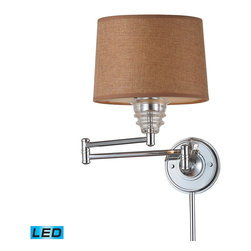 Elk Lighting - EL-66804-1-LED Insulator Glass LED 1-Light Swingarm Sconce in Polished Chrome - The Insulator Glass Collection was inspired by the glass relics that adorned the top of telegraph lines at the turn of the 20th century. Acting as the centerpiece of this series is the recognizable shape of the glass insulator, made from thick clear glass that is complimented by solid cast hardware designed with an industrial aesthetic. Finishes include polished chrome, oiled bronze, and weathered zinc. - LED offering up to 800 lumens (60 watt equivalent) with full range dimming. Includes an easily replaceable LED bulb (120V).