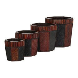 Nearly Natural - Bamboo Octagon Decorative Planters - Set of 4 - Contrasting patterns perfect for any decor. Vibrant burgundy and earth colors. Perfect for holding any arrangement. Construction Material: Wood, PVC Leather. 15 in. W x 15 in. D x 14 in. H ( 9 lbs. )This set of four island inspired hexagon planters (with two contrasting patterns) is perfect for any decor. Enjoy the vibrant burgundy and earth colored cross hatching set next to the light charcoal colored flower pattern framed against a darker background while separated with dark segmented trim. All resting under a ring of thick reddish brown bamboo panels! Absolutely perfect for holding our tropical-inspired arrangements, or to admire on their own.