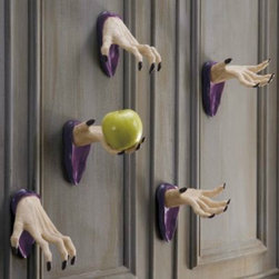 Set of Two Wall-mount Halloween Spooky Hands - I would love to use these in the house or on a door. They would be great for hanging things or holding items.