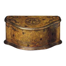 Dessau Home - Burlwood Footed Box - Made from wood. 18 in. L x 9 in. W x 8 in. H