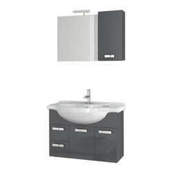 ACF - 32 Inch Glossy Anthracite Bathroom Vanity Set - Part of ACF's Phinex series, this bathroom vanity comes complete with four total pieces.