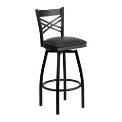 Flash Furniture - Flash Furniture Restaurant Seating Metal Restaurant Barstools - This stylish swivel bar stool will compliment any Home, Restaurant, Lounge or Bar. The 360 degree swivel seat allows you to swing around effortlessly. The comfortably padded seat will keep you and your guests comfortable and is easy to clean. The heavy duty frame makes this stool perfect for commercial or home usage. This attractive stool will add to your casual or elegant setting. [XU-6F8B-XSWVL-BLKV-GG]