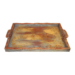 Koenig Collection - Old World Eclectic Rectangular Accessory Tray, Sky Blue & Red - Accessory Tray Rectangle, Sky Blue & Red with Scrolls