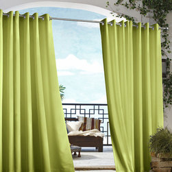 Commonwealth Home Fashions - Outdoor Decor Green 50 x 84-Inch Gazebo Solid Grommet Top Single Panel - - An indoor and outdoor window treatment  - Eight Silver stainless steel grommets  - 1-inch side hems and 3-inch bottom hem  - Pocket Construction: Grommet top  - Additional Necessary Hardware: Outdoor Rod  - Laundry Instruction: Washable Commonwealth Home Fashions - 70315109050084701