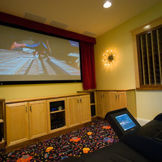 Eclectic Home Theater by High Definition Home
