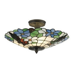 Dale Tiffany - Dale Tiffany 3660/3LTF Wisteria Semi-Flush Mount Light Fixture from the Floral C - Wisteria Semi-Flush Mount Light Fixture from the Floral CollectionFeatures: