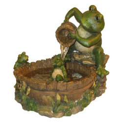 Alpine Corporation - Eternity Tabletop Fountain: Mother Frog Bathing Family - Let the tranquil sound of natural flowing water produced by this exquisite piece will relax your mind, body and spirit. Crafted by a team of gifted artisans, our fountains are made of elegant, lightweight durable resin material, making it easy for movement or placement to create an attractive addition to any space.