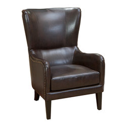 Great Deal Furniture - Clarkson Brown Leather Wingback Club Chair - You've done the groundwork … scrupulously shopping and researching your options, and you've decided on a classic leather wing chair. Two maybe. You've noticed this one one has strong hardwood construction and super plush padding. So go for it. You've earned your wings.