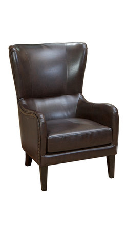 Great Deal Furniture - Salerno Brown Leather Wingback Club Chair - You've done the groundwork … scrupulously shopping and researching your options, and you've decided on a classic leather wing chair. Two maybe. You've noticed this one one has strong hardwood construction and super plush padding. So go for it. You've earned your wings.