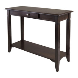 "Winsome Wood - Winsome Wood Nolan Console Table w/ Drawer in Cappuccino - Nolan Console Table is great for hall, living room or entryway. Table features one drawer and a shelf perfect for all your personal storage needs. Table Top dimension 40""W x 15.98""D. Shelf size 35.87""W x 11.85""D. Inside Drawer is 9.45""W x 8.46""D x 2""H. Constructed from solid and composite wood in cappuccino finish. Assembly Required. Console Table (1)"