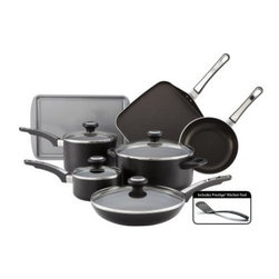"Farberware High Performance Aluminum Nonstick 12 pc. Cookware Set - The Farberware High Performance Aluminum Nonstick 12 pc. Cookware Set is a complete collection that works as hard as a sous chef in the kitchen. This 12-piece cookware set features a heavy-duty nonstick coating and pots and pans with tight-fitting see-through lids. It also includes skillets and a grill pan. A matched set of great cooking tools! About FarberwareIn 1900 a tinsmith named S.W. Farber set up a shop in Manhattan where he started a small business making bowls and vases out of hand-pounded sheets of copper and brass. Since that time the Farberware company has grown exponentially; in 1930 they introduced their first line of percolators adding small appliances to the list of items for which they were already known. In today's market Farberware is valued for its product innovation. Over the years they have been responsible for such designs as the electric fry pan with removable probe for easy cleaning and the """"Open Hearth"""" smokeless broiler. Quality classic styling and years of tradition go into each Farberware product. With Farberware you know you're not just buying a piece of cookware; you're buying a legacy of great value."