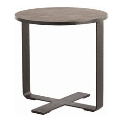 Arteriors Home - Arteriors Home Ramiro Hammered Iron End Table - Arteriors Home 6632 - Arteriors Home 6632 - Minimalist hammered iron accent table with black wax finish.