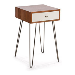Kingston Krafts - Newton Nightstand, Walnut/White - Inspired by mid century modern design, our Newton nightstand introduces both industrial and modern elements. A solid black walnut case and white lacquered drawer front make a transitional statement. Paired with classic mid century hairpin legs from American steel proudly made in Providence, RI.