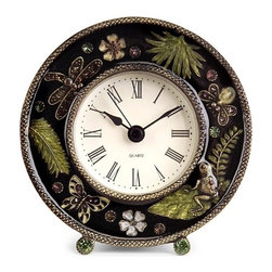 "IMAX - Jeweled Desk Clock - Chic jeweled desk clock with botanical and butterfly images Item Dimensions: (4.25""d)"