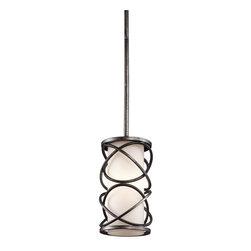Kichler - Kichler 42467WMZ Krasi Single-Bulb Indoor Pendant with Cylindrical Glass Shade - Kichler 42467WMZ Convertible Pendalette