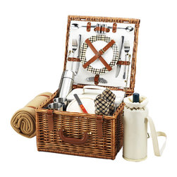 "Picnic At Ascot - Cheshire Basket for 2 with Coffee Set and Blanket, Wicker W/London - The quality and sophistication of the English style Cheshire Picnic Basket for two is sure to impress.  Beautifully hand crafted using full reed willow, each basket includes ceramic plates, glass wine glasses, and the highest quality accessories.  Includes: (2) ceramic plates, glass wine glasses, stainless flatware, cotton napkins, double walled insulated stainless coffee cups and (1) food cooler, insulated wine pouch, hardwood cutting board, spill proof salt & pepper shakers, wood handle cheese knife, stainless waiters corkscrew, 24oz stainless steel vacuum flask, and 50"" x 60"" fleece blanket. Natural Willow with leather handle & hinge covers. Lifetime Warranty."