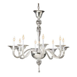 """Inviting Home - Venetian Glass Chandelier (large) - Clear hand-blown eight-light Venetian glass chandelier; 34"""" x 34""""H; made in Murano (Italy) ; Clear hand-blown 8 light Venetian glass chandeliers; Made in Murano Italy. Nothing can compare with the sparkle and grandeur of chandeliers especially if they are authentic Venetian glass chandeliers. The exquisite craftsmanship and simple beauty that this type of chandeliers provides not only light but also an artistic element of beauty. Venetian glass which is produced exclusively using centuries-old techniques by glass makers on the island of Murano in Venice Italy contributes maximum sparkle and beauty to lighting of all styles. Nowhere else is the elegance and grace of Venetian glass artistry better showcased than in beautiful Venetian glass chandeliers which provides sparkle and light for an entire room. Once confined only to a station above the table in the dining room you'll find that a glass chandelier is ideal for lighting up other rooms as well. UL approved - dry location; hardwire; 8x 60W max. candelabra bulds; bulbs not included. Approx. 6 feet of chain/wire drop provided. Handcrafted in Italy."""