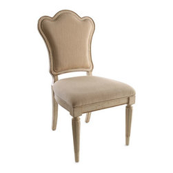 """Horchow - Two """"Brannon"""" Side Chairs - A particularly refreshing mix, these upholstered side chairs are handcrafted of radiatta solids and pine veneers with a creamy finish. Sold in pairs. Each, 20.5""""W x 24""""D x 40""""T. Imported."""
