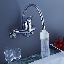 Kitchen Faucets - Chrome Finish Brass Kitchen Faucet with Flexible Spout (Wall Mount)