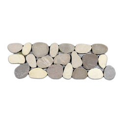 CNK Tile - Sliced Java Tan and White Pebble Tile Border - Each pebble is carefully selected and hand-sorted according to color, size and shape in order to ensure the highest quality pebble tile available. The stones are attached to a sturdy mesh backing using non-toxic, environmentally safe glue. Because of the unique pattern in which our tile is created they fit together seamlessly when installed so you can't tell where one tile ends and the next begins!