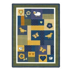 Joy Carpets Baby Love Area Rug - Sweet and lovely with a classic touch the Baby Love Carpet is just right for Baby's first bedroom... or for a baby specialty shop. Soothing blues and yellows and friendly animals will delight Baby and add that perfect decorative touch.Sizes available3 feet 10 inches x 5 feet 4 inches5 feet 4 inches x 7 feet 8 inches7 feet 8 inches x 10 feet 9 inches10 feet 9 inches x 13 feet 2 inchesThis carpet features SoftFlex backing which is an air-texturized polypropylene secondary backing that's designed to withstand the most demanding situations. SoftFlex is woven tightly yet is still extremely flexible which helps eliminate wrinkles and provide superior protection and insulation underfoot.JoyTuff carpets are Stainmaster-protected and ideal for home or office use. They are constructed from Stainmaster BCF Type 6 6 two-ply nylon and feature advanced protection against stain and soil as well as Impervion mold and mildew protection. This carpet is bound and serged for maximum durability and features a SoftFlex back plus a Class I Flammability rating. To maintain simply vacuum regularly and use hot water extraction cleaning as required.This carpet includes the following warranties:Lifetime limited wear warrantyLifetime limited antimicrobial protectionLifetime limited static protection10-year limited dual technology soil and stain protectionDedicated to Environmental StewardshipJoy Carpets understands the importance of environmental stewardship and its relationship to a successful business. We are committed to operating our facilities in an environmentally sustainable manner and in a manner that protects the health and safety of our associates and the public.Our environmental commitment is driven by a holistic approach to sustainable operations not simply focusing on recycling alone. Joy Carpets reaches beyond recycling in an effort to reduce our company's environmental footprint. Our vision and progress to achieving the goal of full sustainability focuses on the following:Environmentally friendly productsReview of our products' supply chainExtending product life cycleUse of recycled packagingReducing waste to landfillReducing energy consumption and water usageUse of alternative energy sources'No carpet to landfill' commitmentRecycling carpet into new productsDonating carpet for charitable re-useAdditionally Joy Carpets is committed to establishing a strong foundation of environmental values with our families associates and communities to ensure the long-term conservation of our earth's natural resources.About Joy CarpetsJoy Carpets is the leader in specialty broadloom modular carpet Carpets and mats in creative and eye-catching designs. Joy takes pride in providing first-rate floor coverings for residential educational hospitality healthcare and commercial markets. The pioneer of fine gauge tufting Joy Carpets introduced the first recreational carpeting to the industry in 1973 and since that time has been known for their commitment to cutting edge technology and design. Joy Carpets are proudly made in the United States and sold worldwide. Choose Joy Carpets for superior service and unique fun products that enhance your decor and give you fantastic flooring in an instant.