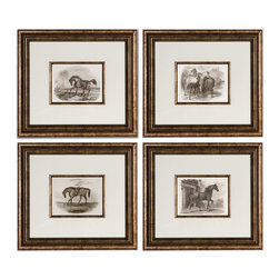 Uttermost - Horses Framed Art Set of 4 - No horsing around — these equine prints will look stunning in your den. Each handsome image is set under glass and surrounded by a bronze leaf frame. These majestic beauties will prance right into your house and heart.