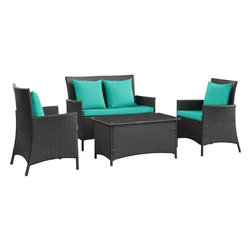 Modway - Modern Patio Furniture Flourish 4 Piece Sofa Set, Espresso and Turquoise - Send a clear message of articulation to spaces otherwise filled with quietude. There is something most unique about this set. As the designer so intended, while the lower portion of each element is on an upswing, the upper areas are flat and leveled. Flourishes' armrests and headrests are the outcome of momentum; but at the same time, do not show it in the slightest. Part of a movement to bring modernism into everyday life, Flourish is representative of a new approach to design and style. Comprised of woven UV resistant rattan and all-weather cushions, the aluminum frame is also powder-coated for extra protection against the elements. Flourish is perfect for patios, pool areas, resorts and other outdoor spaces.