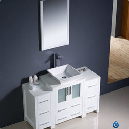 "Fresca - Fresca Torino 48"" Modern Single Vessel Sink Vanity Set w/ 2 Side Cabinets - Fresca is pleased to usher in a new age of customization with the introduction of its Torino line. The frosted glass panels of the doors balance out the sleek and modern lines of Torino, making it fit perfectly in either 'Town' or 'Country' decor. Available in the rich finishes of Espresso, Glossy White, Light Oak and Walnut Brown, all of the vanities in the Torino line come with either a ceramic vessel bowl or the option of a sleek modern ceramic integrated sink."
