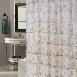 Carnation Home Fashions Carmen Ruffle Butterfly Pattern Fabric Shower Curtain - Delightful butterflies and frilly ruffles make the Carnation Home Fashions Carmen Ruffle Tier Fabric Shower Curtain a feminine beauty. This pretty shower curtain features large ruffles of hand-sewn polyester fabric decorated with beautiful butterflies. It's machine-washable and fits most showers perfectly.About Carnation Home FashionsYour home, your style – Carnation Home Fashions believes in this motto. That's why this home fashions company offers a wide range of on-trend and classic products designed for style and convenience. Perfect for matching today's busy lifestyles, their bath products meet your needs in style. Carnation Home Fashions is based in Newburgh, New York.
