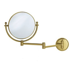 "Gatco - Magnifying 8"" Swinging Wall Mirror in Polished Brass - Get an even closer look. The Magnifying 7.5"" Swinging Wall Mirror in Polished Brass from Gatco is a must-have for every bathroom. The two-sided mirror is attached to an extendable arm which can reach 14 out from the wall. The traditional style, bright finish and quality construction, along with the 3x magnification on one side make this piece pleasing to any bathroom. Features : - Wall and Vanity Mirrors Collection. - Available in a polished brass finish. - Traditional style. - Made of solid forged brass. - Two-sided mirror. - 3X Magnification on one side. - Must be installed into the wall. - Exposed screws. - 14"" swinging arm when fully extended. - Also available separately in a chrome finish. - Dimensions : 14"" L Arm, 7.5"" Diameter. -Dimensions: 11.5"" H x 19.5"" W."