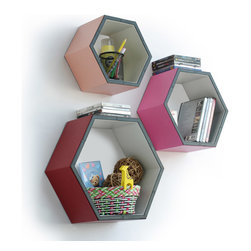Blancho Bedding - Gorgeous ColorHexagon Leather Wall Shelf / Bookshelf / Floating Shelf Set of 3 - These beautifully Hexagonal Shaped Wall Shelves display the art of woodworking and add a refreshing element to your home. Versatile in design, these leather wall shelves come in various colors and patterns. These elegant pieces of wall decor can be used for various purposes. It is ideal for displaying keepsakes, books, CDs, photo frames and so much more. Install as shown or you may separate the shelves to create a layout that suits your taste and your style. They spice up your home's decor, and create a multifunctional storage unit for all around your home. Each box serves as a practical shelf, as well as a great wall decoration.