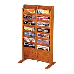 Wooden Mallet - Freestanding Oak Magazine Rack w Fourteen Poc - Finish: Medium OakFloor stand units are easy to move when re-arranging furniture. Base has stable 12 in. oak feet. Furniture quality construction with solid oak sides sealed in a durable state-of-the-art finish. Pictured in Medium Oak. No assembly required. 1-Year warranty. 12 in. D x 20.5 in. W x 37 in. H (20 lbs.)Wooden Mallet's free-standing magazine racks offer versatility and style when displaying magazines in your lobby. Our unique overlapping design neatly displays and organizes magazines and literature, keeping them tidy and visible in the least amount of space.