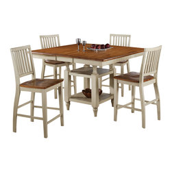 """Steve Silver Furniture - Steve Silver Candice 5-Piece Square Counter Table Set in Oak and White - The Candice collection offers country-style simplicity, transforming any dining area into a charming sanctuary. The white and oak Candice counter table features a 12"""" butterfly leaf and is supported by a square base with shelves for storage or display. The table measures 54""""W x 42""""L without the leaf and 54""""W x 54""""L with the leaf in place. Add the Candice white and oak counter chairs and you can comfortably seat eight!"""