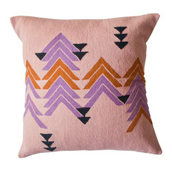 Ira Triangle Pillow - Hand-embroidered by women artisans in north India, these geometric pillows in a warm color palette are perfect as Fall accents.