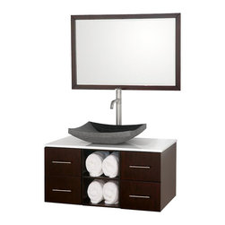 Wyndham Collection - Wyndham Abba Vanity Espresso White Sink - 8-stage painting and finishing process